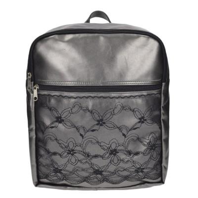 Τσάντα ασημί σακίδιο με σχέδιο μαύρη δαντέλα