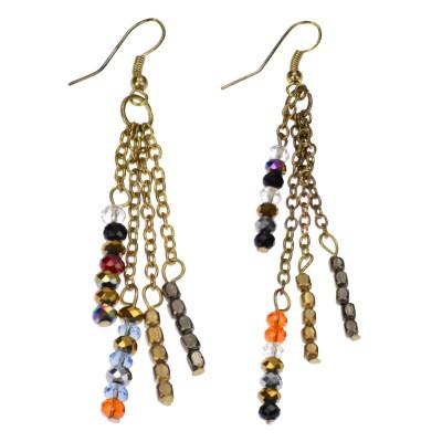 Azadé σκουλαρίκια χρυσά κρεμαστά με αλυσίδες