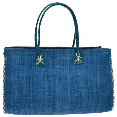 Azadé τσάντα ψάθινη μπλε μικρή