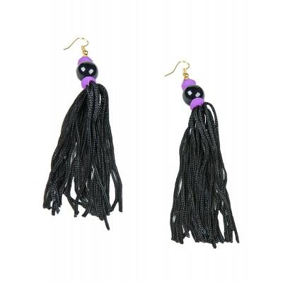 Σκουλαρίκια μακριά με μαύρα κρόσσια και πέτρες