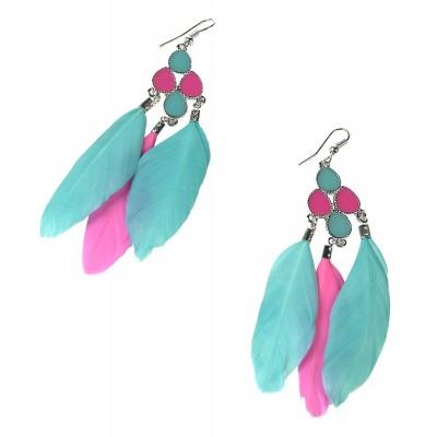 Σκουλαρίκια χρωματιστά με φτερά