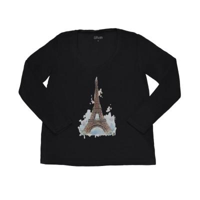 Μπλούζα miss azade μαύρη με σχέδιο πύργο του Άιφελ