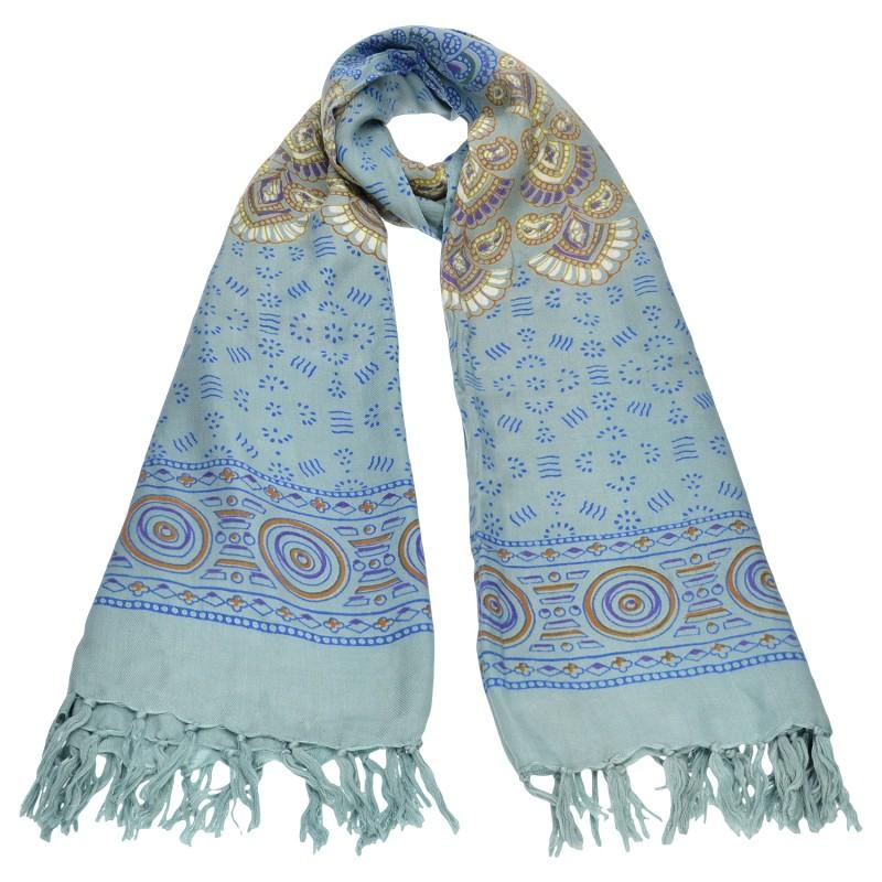 Azadé φουλάρι boho με κρόσια μπλε