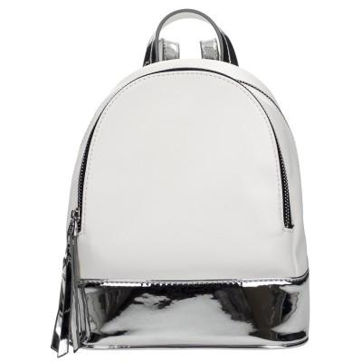 Azadé τσάντα λευκό σακίδιο με μεταλλιζέ λεπτομέρεια