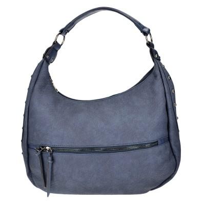 Τσάντα ώμου οβάλ μπλε