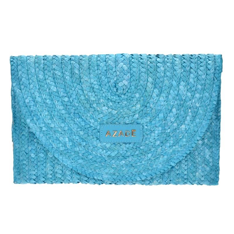 Straw Envelope Bag Turquoise