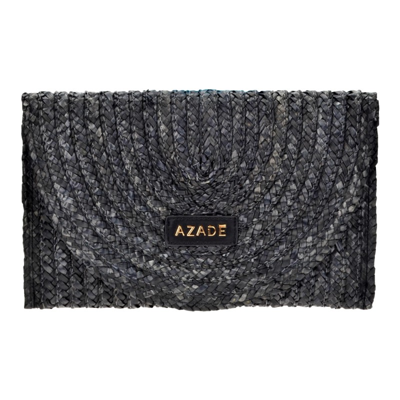 Straw Envelope Bag Black