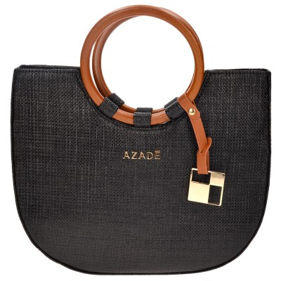 Straw Hand Bag Black