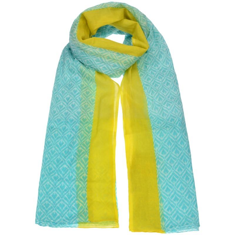 Φουλάρι Aqua/Κίτρινο Εμπριμέ