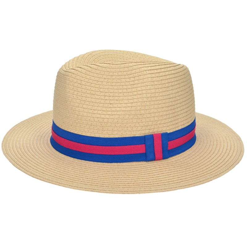 Panama Hat Natural/ Blue-Fuchsia