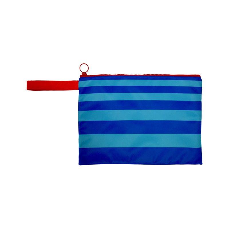 Αδιάβροχο τσαντάκι παραλίας Ριγέ Μπλε/τυρκουάζ