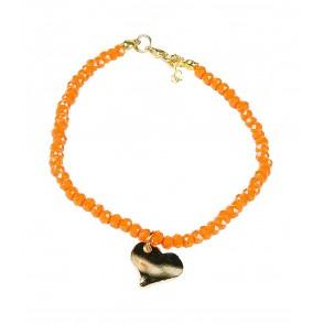 Αλυσίδα ποδιού με πορτοκαλί πέτρες